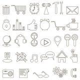 Grupo de ícones lineares sobre o Internet Imagem de Stock Royalty Free