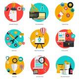 Grupo de ícones lisos Imagens de Stock