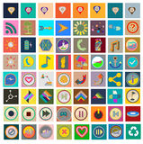 Grupo de ícones lisos Fotografia de Stock