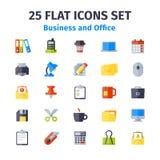 Grupo de 25 ícones lisos Foto de Stock Royalty Free