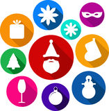 Grupo de ícones lisos brilhantes do xmas Fotos de Stock Royalty Free