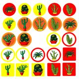 Grupo de ícones lisos com a imagem do cacto mexicano Fotografia de Stock Royalty Free