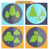 Grupo de ícones lisos da árvore Imagem de Stock Royalty Free