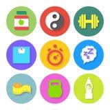 Grupo de ícones lisos da aptidão Vetor Foto de Stock Royalty Free