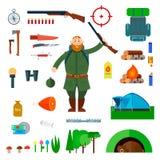 Grupo de ícones lisos da caça Fotografia de Stock Royalty Free
