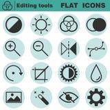 Grupo de ícones lisos da edição O contraste, brilho, matiz, cor, filtro, curva, nivela símbolos Fotografia de Stock Royalty Free