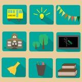 Grupo de ícones lisos da educação Imagens de Stock Royalty Free
