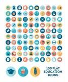 Grupo de 100 ícones lisos da educação do estilo Imagem de Stock