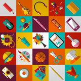 Grupo de ícones lisos da escola Imagens de Stock