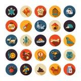 Grupo de ícones lisos da loja de animais de estimação do projeto Imagem de Stock Royalty Free