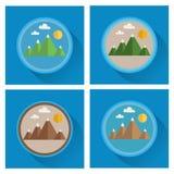 Grupo de ícones lisos da montanha ilustração stock