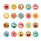 Grupo de ícones lisos da sobremesa do projeto imagens de stock