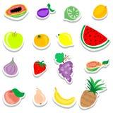 Grupo de ícones lisos das etiquetas dos frutos Fotos de Stock