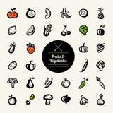 Grupo de ícones lisos das frutas e legumes do projeto Fotos de Stock