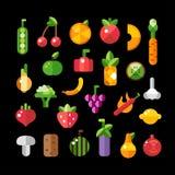 Grupo de ícones lisos das frutas e legumes do projeto Foto de Stock Royalty Free