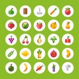 Grupo de ícones lisos das frutas e legumes do projeto Imagens de Stock Royalty Free