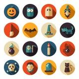 Grupo de ícones lisos de Dia das Bruxas do projeto Imagem de Stock