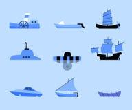 Grupo de ícones lisos de navios diferentes Fotografia de Stock Royalty Free