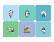 Grupo de ícones lisos do alimento da rua, desertos, doces, caráteres bonitos do alimento dos desenhos animados Fotos de Stock