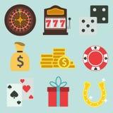 Grupo de ícones lisos do casino dos desenhos animados Fotografia de Stock