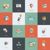 Grupo de ícones lisos do conceito de projeto Foto de Stock