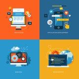 Grupo de ícones lisos do conceito de projeto para o design web