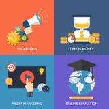 Grupo de ícones lisos do conceito de projeto para o negócio ilustração stock