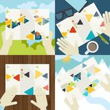 Grupo de ícones lisos do conceito de projeto para o negócio Imagens de Stock