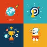Grupo de ícones lisos do conceito de projeto para serviços da Web e de telefone celular e apps Foto de Stock