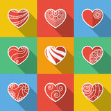 Grupo de ícones lisos do coração Imagens de Stock Royalty Free