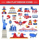 Grupo de ícones lisos do curso dos EUA do projeto, infographics Imagens de Stock Royalty Free