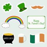 Grupo de ícones lisos do dia feliz do ` s de St Patrick Ilustração do vetor Símbolos do dia do ` s de Patrick ilustração do vetor