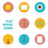 Grupo de ícones lisos do escritório Imagem de Stock