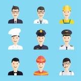 Grupo de ícones lisos do estilo do homem colorido da profissão Foto de Stock