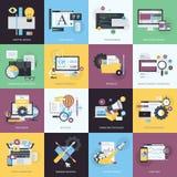 Grupo de ícones lisos do estilo do projeto para o gráfico e o design web
