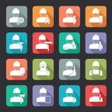 Grupo de ícones lisos do estilo do trabalhador da construção Fotografia de Stock Royalty Free
