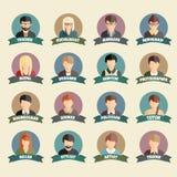 Grupo de ícones lisos do estilo dos povos coloridos da profissão Foto de Stock