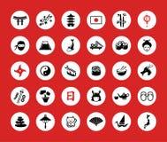Grupo de ícones lisos do japonês do projeto Fotos de Stock