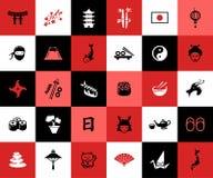 Grupo de ícones lisos do japonês do projeto Fotos de Stock Royalty Free
