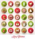 Grupo de ícones lisos do Natal ilustração royalty free
