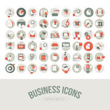 Grupo de ícones lisos do negócio do projeto Fotos de Stock