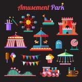 Grupo de ícones lisos do parque de diversões do projeto Imagem de Stock