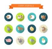 Grupo de ícones lisos do projeto com animais de exploração agrícola Imagens de Stock Royalty Free