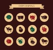 Grupo de ícones lisos do projeto com animais de exploração agrícola Imagem de Stock