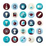 Grupo de ícones lisos do projeto com sombras longas Imagens de Stock