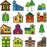 Grupo de ícones lisos do projeto das casas bonitas Foto de Stock Royalty Free