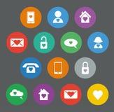 Grupo de ícones lisos do projeto do Valentim Imagem de Stock Royalty Free