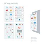 Grupo de ícones lisos do projeto em barras coloridas para ilustração do vetor