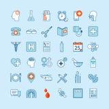 Grupo de ícones lisos do projeto para a medicina e os cuidados médicos Fotografia de Stock Royalty Free
