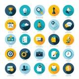 Grupo de ícones lisos do projeto para o negócio, o SEO e o Soc